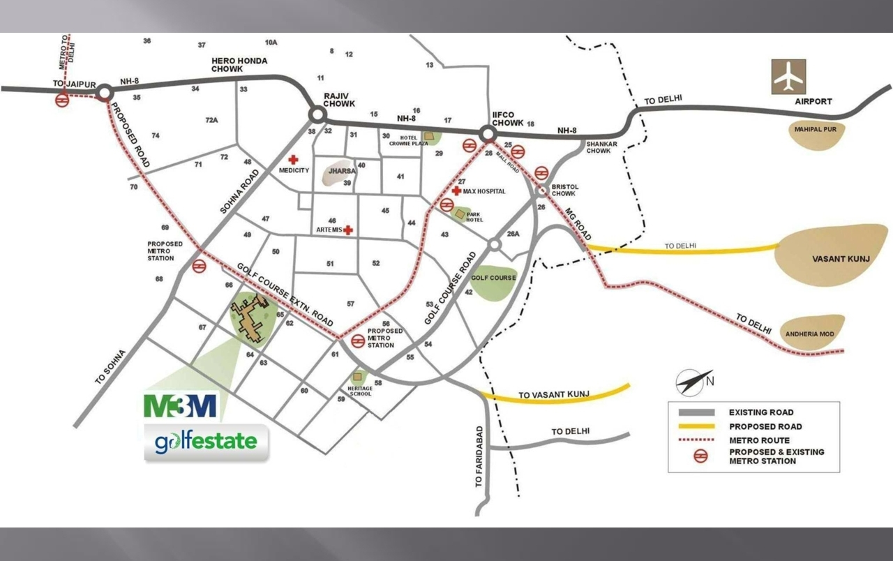 M3M Golf Estate Location Map