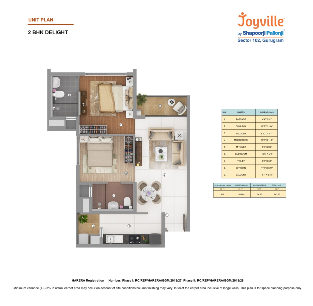 Joyville 2BHK Delight Area-915