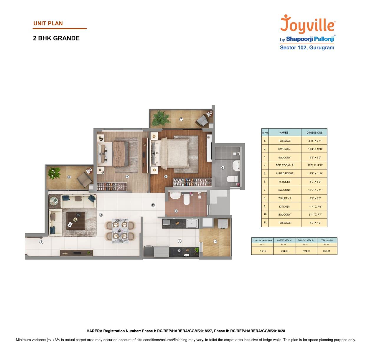 Joyville 2BHK Grande Area-1215