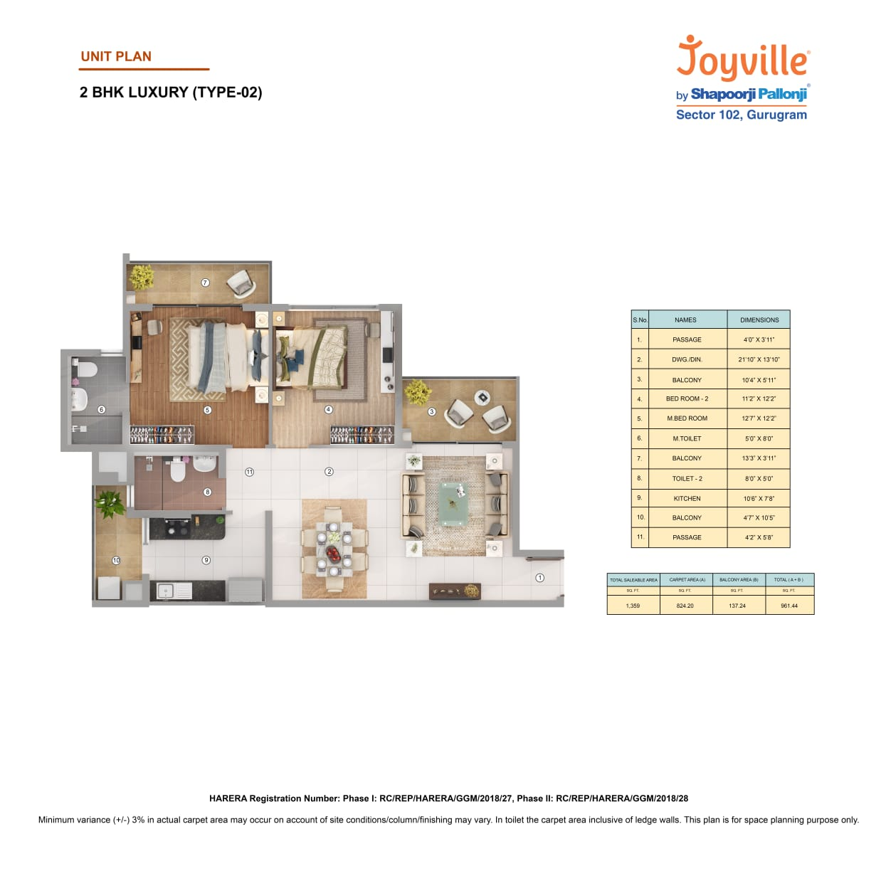 Joyville 2BHK Type 2 Area-1359