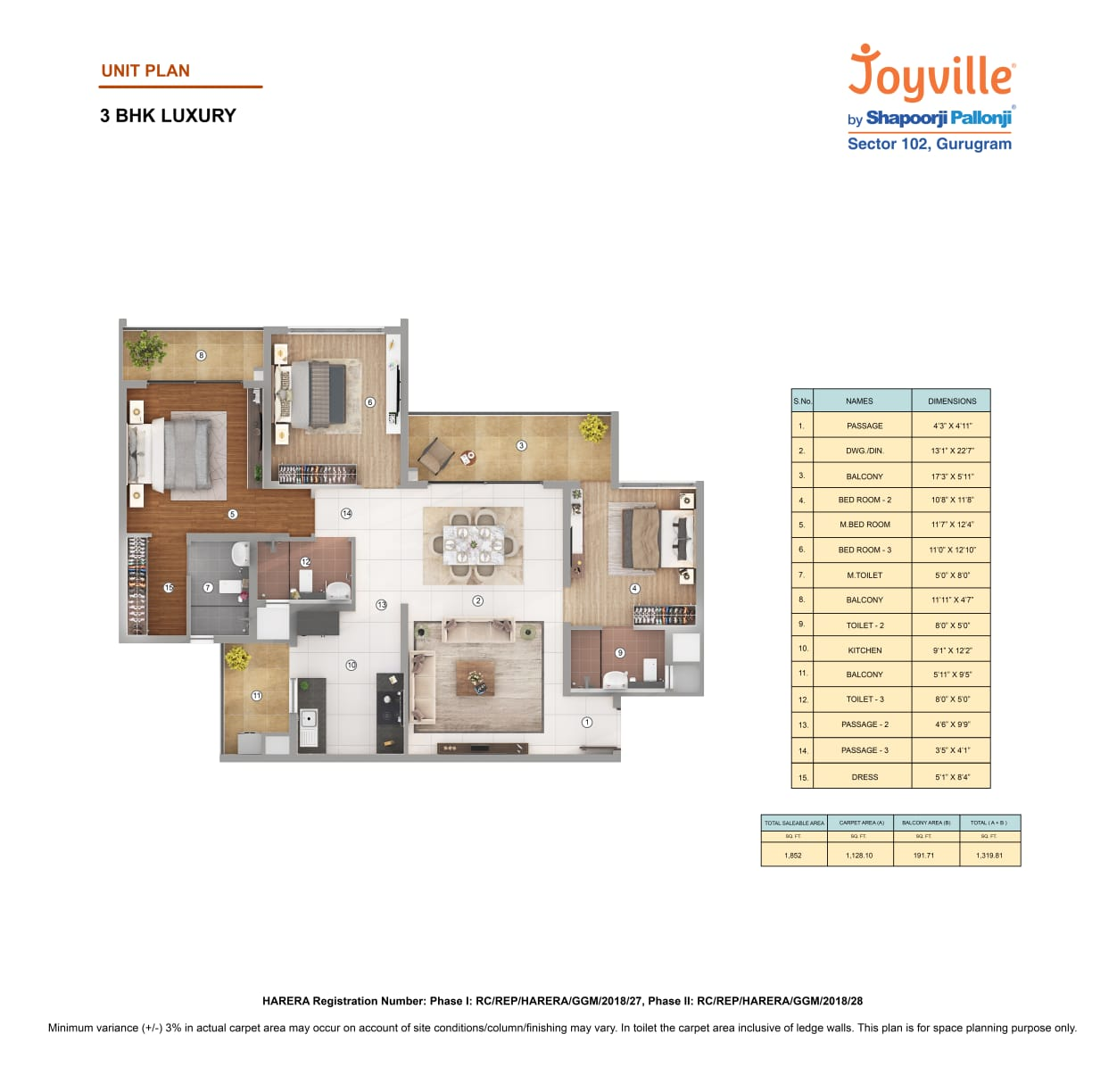 Joyville Floor Plan 3BHK Area-1852