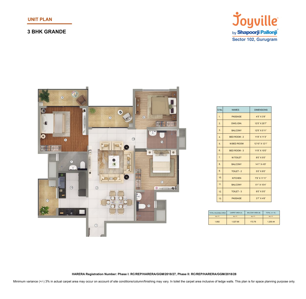 Joyville Floor Plan 3BHK Grande Area-1692