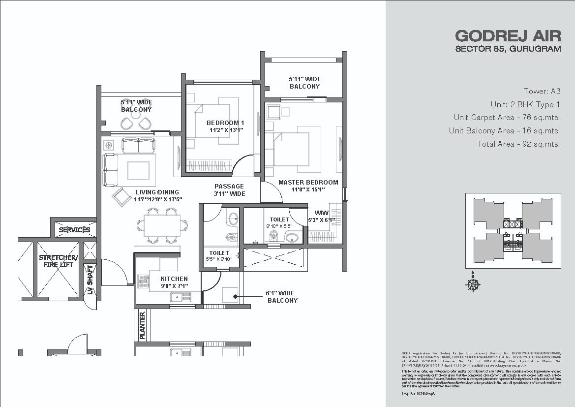 Godrej-Air-Floor-Plans-2BHK Type 1 Tower3