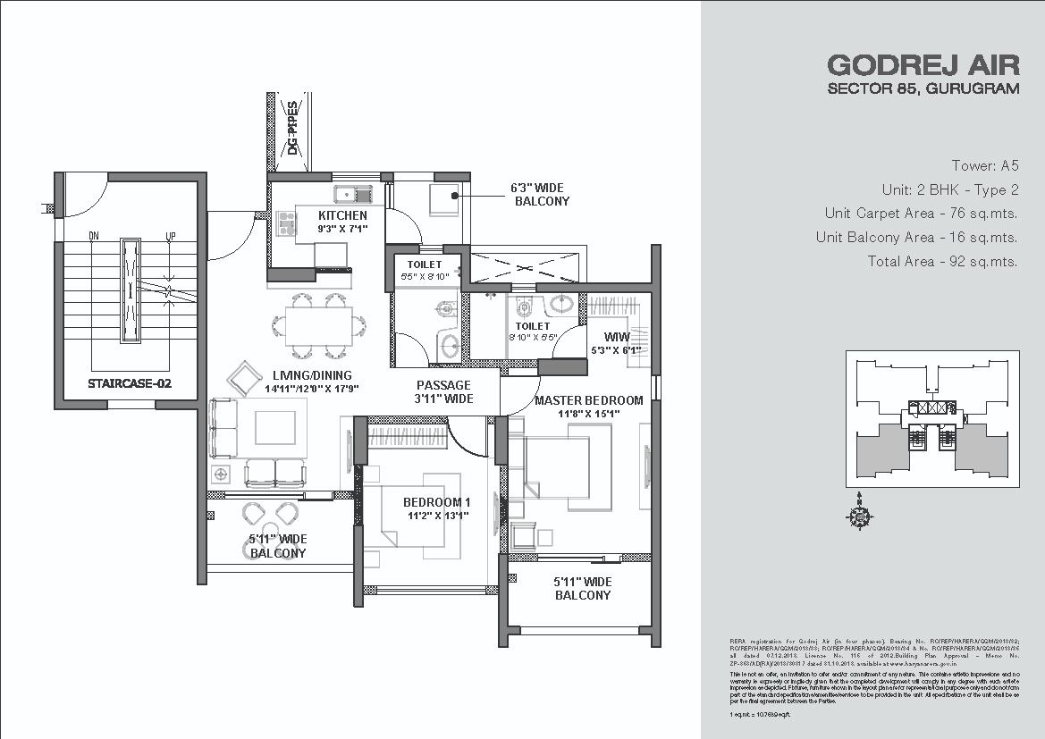 Godrej-Air-Floor-Plans-2BHK Tower-A5 Type 2