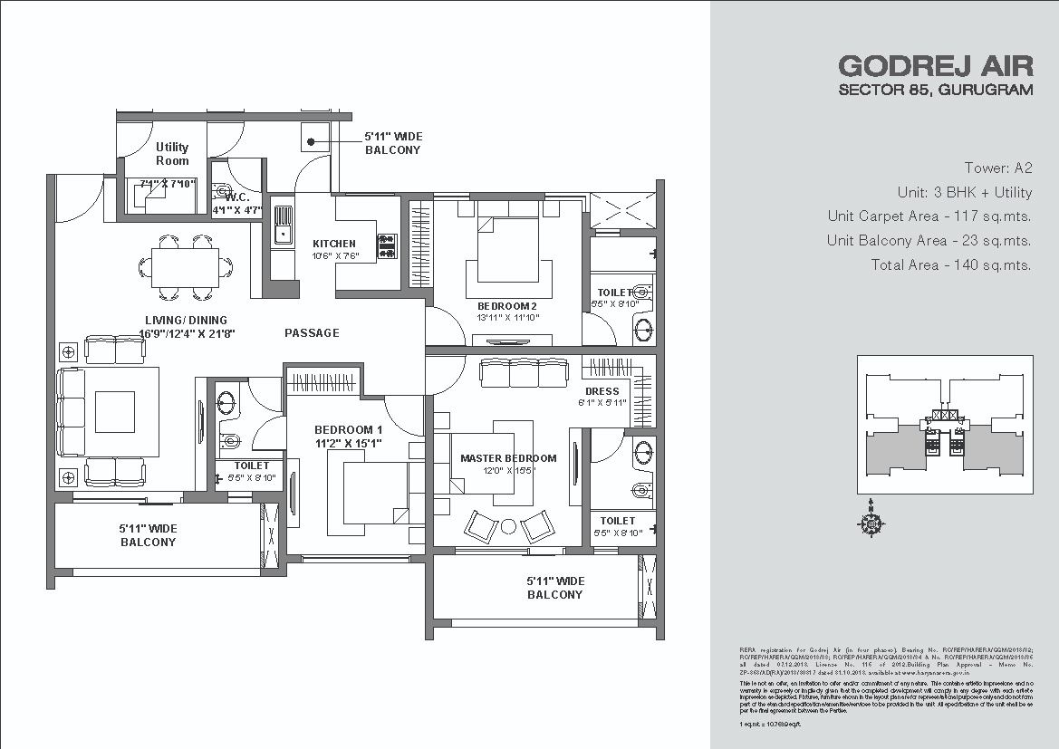 Godrej-Air-Floor-Plan 3BHK+ Utility Tower A2