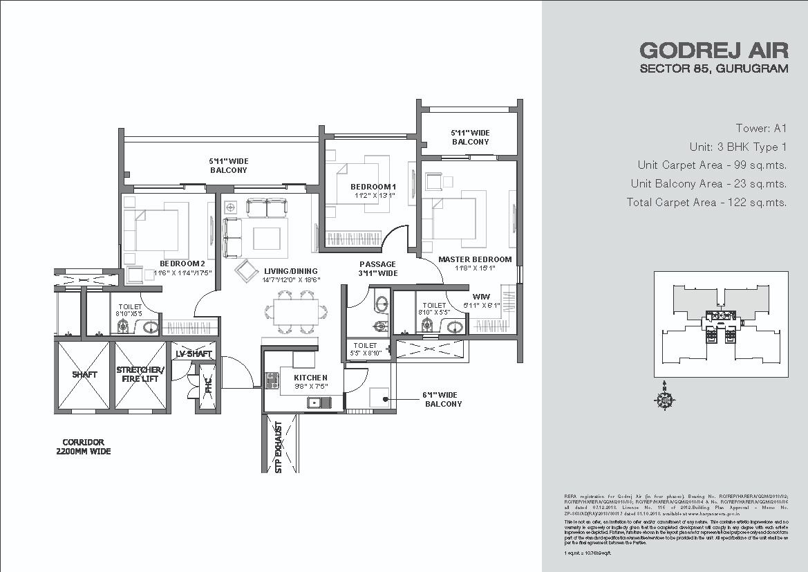 Godrej-Air-Floor-Plans-3BHK Tower A1 Type 1