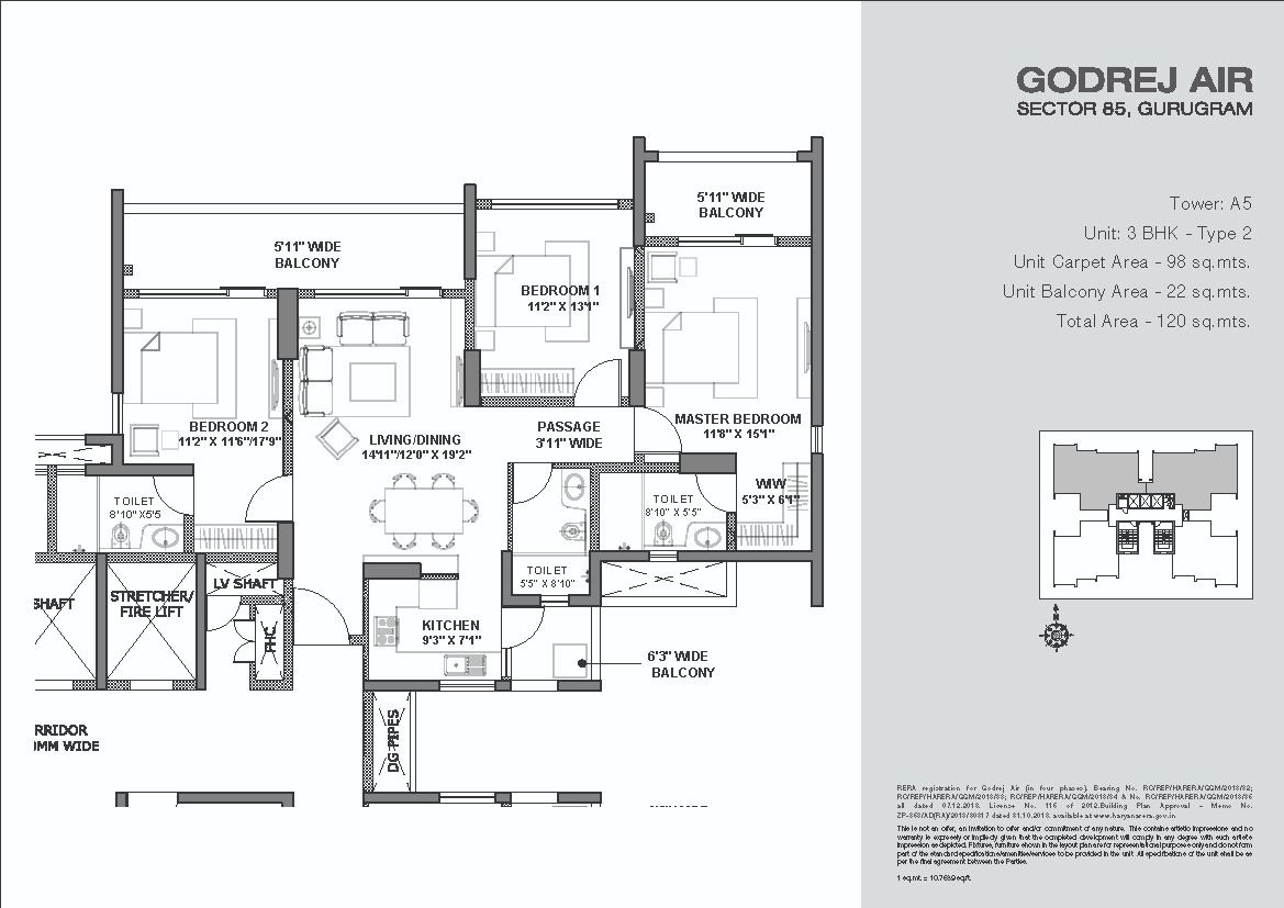 Godrej-Air-Floor-Plans-3BHK Tower-A5 Type 2