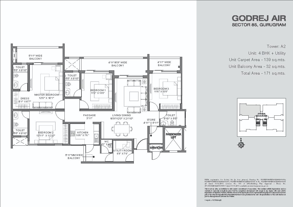 Godrej-Air-Floor-Plan-4BHK+ Utility Tower-A2