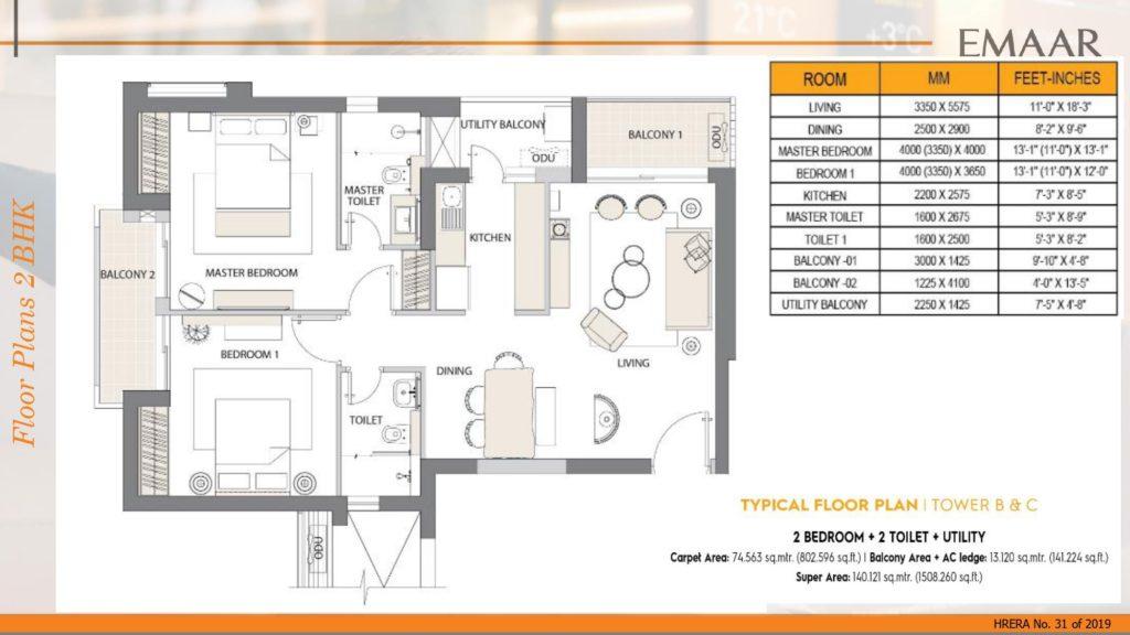 Emaar Digihomes 2BHK +2T +Utility 1508SqftSqft Tower-B & C