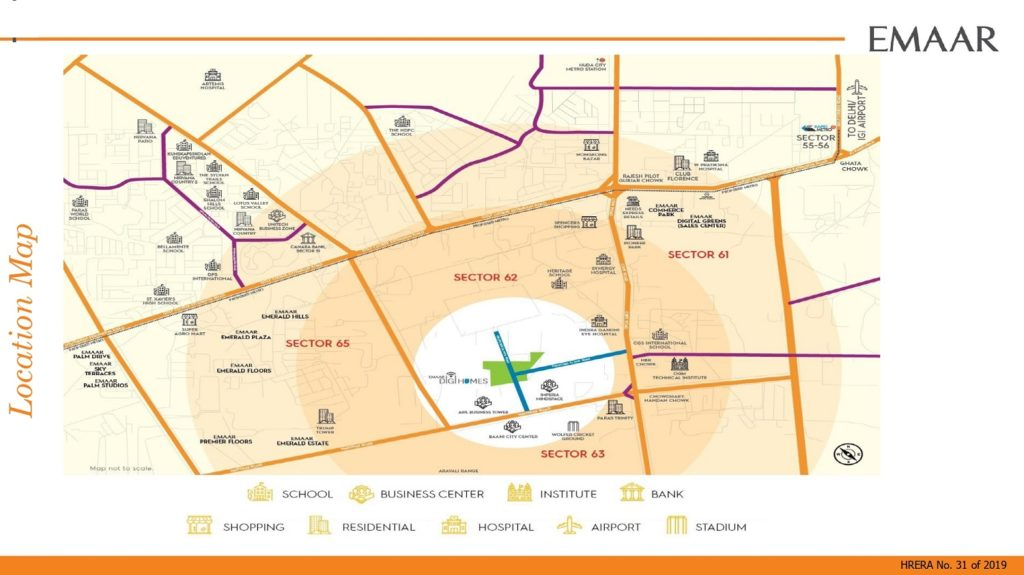 Location Map Emaar Digi homes Sector 62 Gurugram