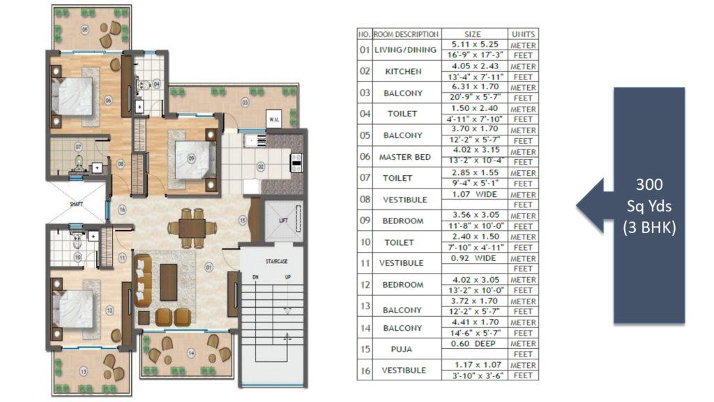 Adani Samsara Vilasa Floor Plan 3BHK 300 Sqyd