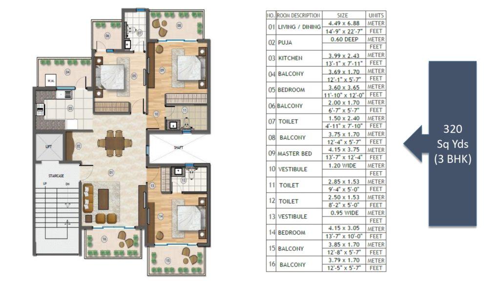 Adani Samsara Vilasa Floor Plan 3BHK 320 Sqyd