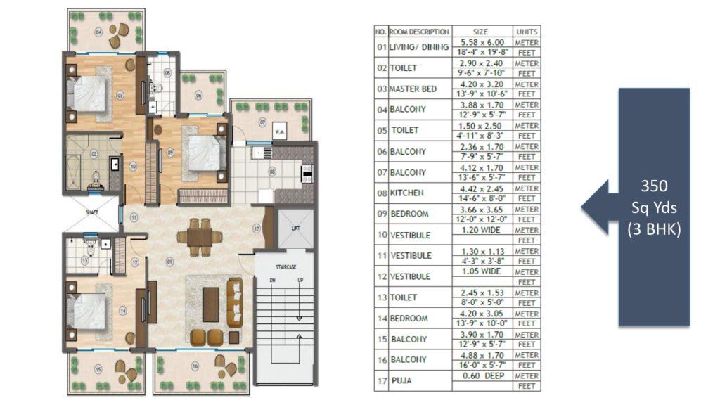 Adani Samsara Vilasa Floor Plan 3BHK 350 Sqyd