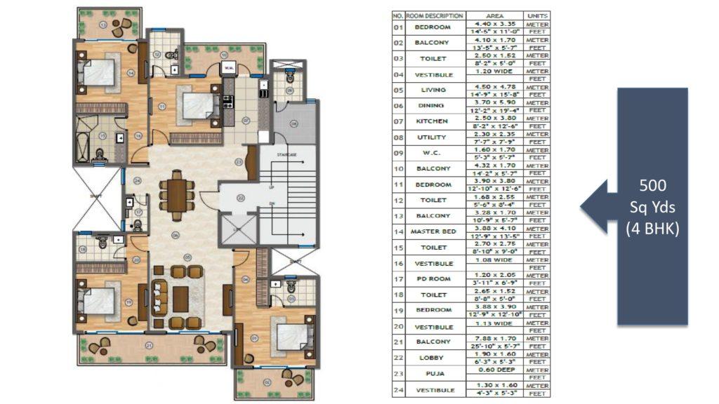 Adani Samsara Vilasa Floor Plan 4BHK 500 Sqyd