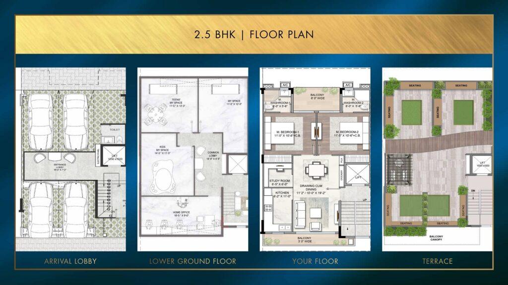 2.5 BHK Floor Plan Smart World Sector 89