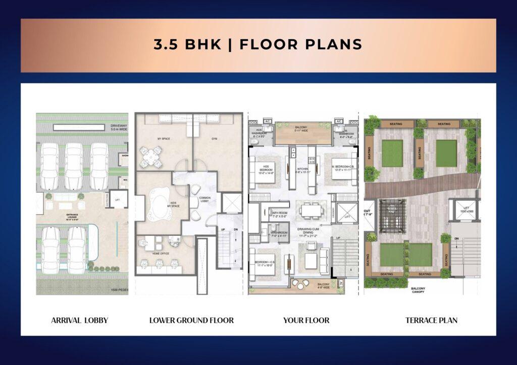 3.5 BHK Floor Plan Smart World Sector 89